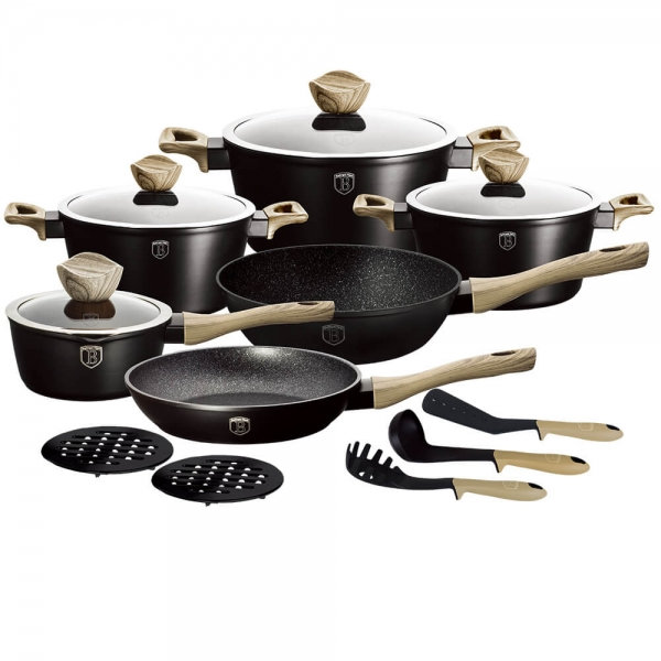Set oale si tigai marmorate (15 piese) din aluminiu forjat Ebony Maple Collection Berlinger Haus BH 1536