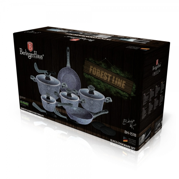 Set oale si tigai marmorate (15 piese) din aluminiu forjat Forest Dark Gray Line Berlinger Haus BH 1578