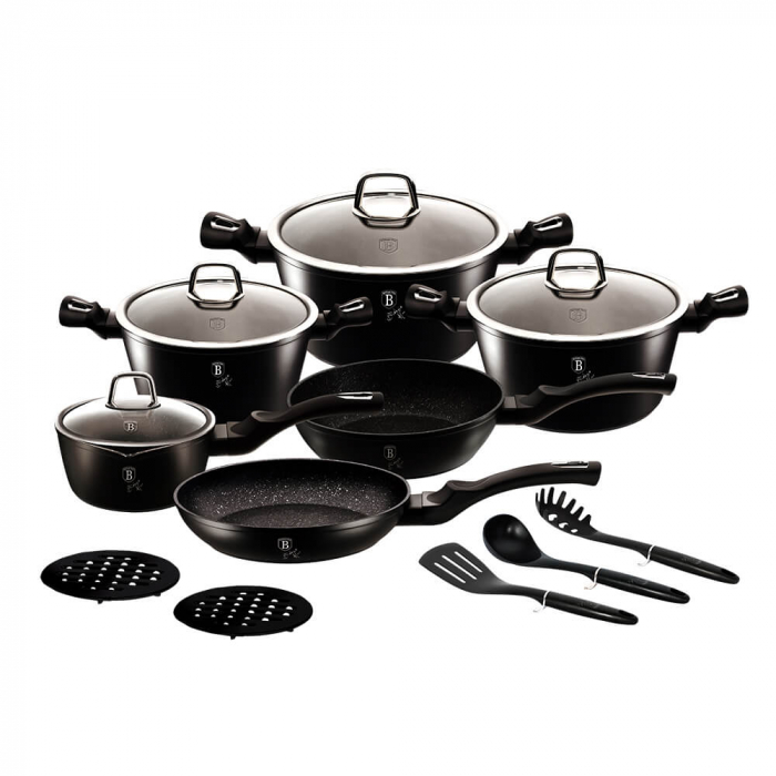Set oale si tigai marmorate (15 piese) din aluminiu forjat Black Silver Collection Berlinger Haus BH 6155 0