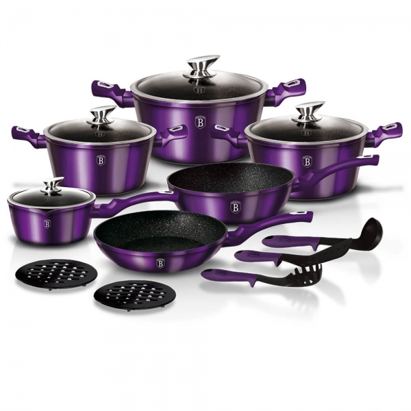 Set oale si tigai marmorate (15 piese) din aluminiu forjat Metallic Line Royal Purple Edition Berlinger Haus BH 1662N 0