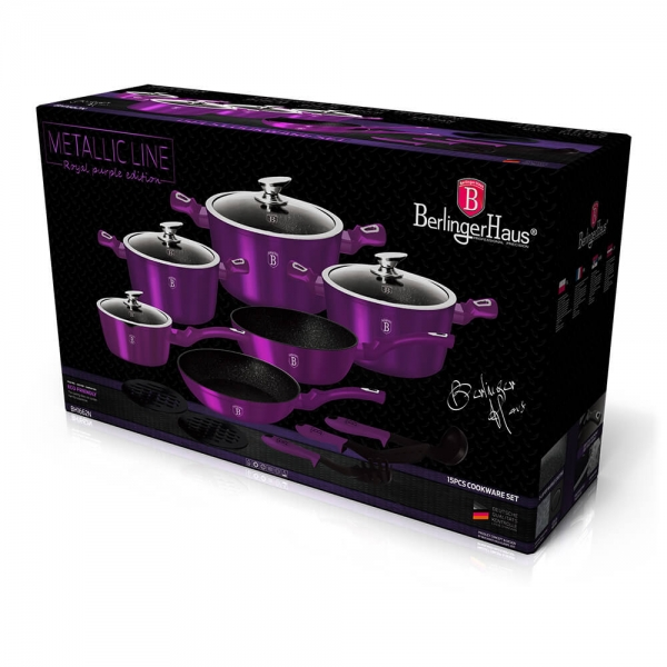 Set oale si tigai marmorate (15 piese) din aluminiu forjat Metallic Line Royal Purple Edition Berlinger Haus BH 1662N 1