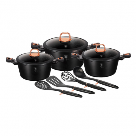 Set oale si tigai marmorate (10 piese) din aluminiu forjat Black Rose Collection Berlinger Haus BH 61540