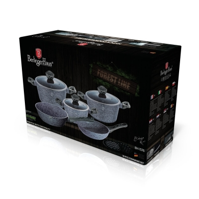 Set oale si tigai marmorate (10 piese) din aluminiu forjat Forest Dark Gray Line Berlinger Haus BH 15762
