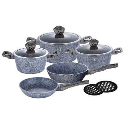 Set oale si tigai marmorate (10 piese) din aluminiu forjat Forest Dark Gray Line Berlinger Haus BH 15761