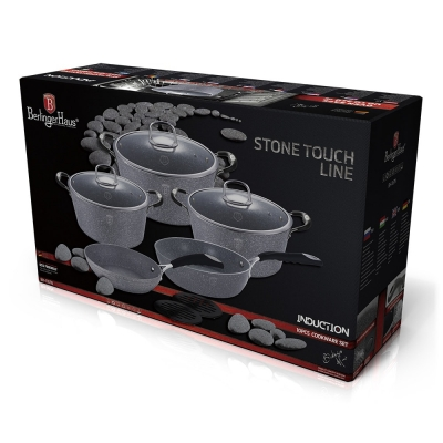 Set oale si tigai marmorate (10 piese) din aluminiu forjat Gray Stone Touch Line Berlinger Haus BH 1167N2