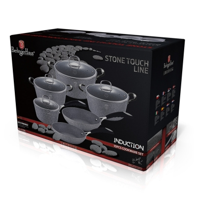 Set oale si tigai marmorate (10 piese) din aluminiu forjat Gray Stone Touch Line Berlinger Haus BH 1170N2
