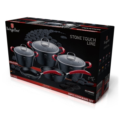 Set oale si tigai marmorate (10 piese) din aluminiu forjat Gray Stone Touch Line Black Edition Berlinger Haus BH 1166N1
