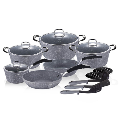 Set oale si tigai marmorate (15 piese) din aluminiu forjat Gray Stone Touch Line Berlinger Haus BH 1173N1