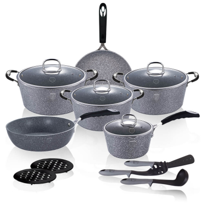 Set oale si tigai marmorate (15 piese) din aluminiu forjat Gray Stone Touch Line Berlinger Haus BH 1173N0