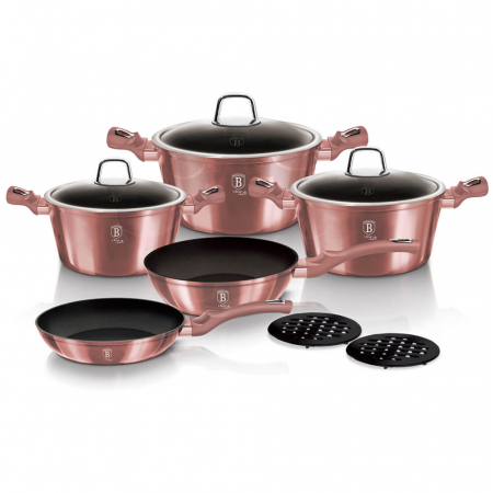 Set oale si tigai marmorate (10 piese) din aluminiu forjat I-Rose Collection Berlinger Haus BH 60430