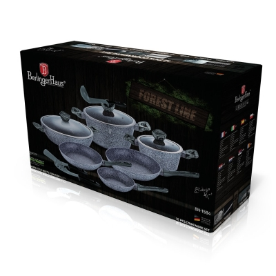 Set oale si tigai marmorate (12 piese) din aluminiu forjat Forest Dark Gray Line Berlinger Haus BH 15842