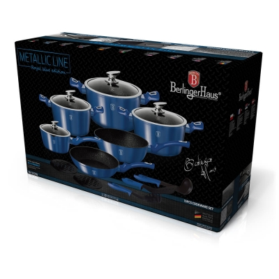 Set oale si tigai marmorate (15 piese) din aluminiu forjat Metallic Line Royal Blue Edition Berlinger Haus BH 1659N1