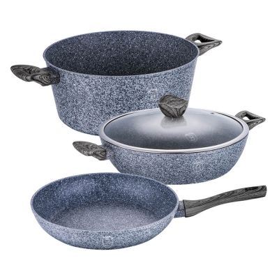 Set oale si tigai marmorate (4 piese) din aluminiu forjat Forest Dark Gray Line Berlinger Haus BH 15831