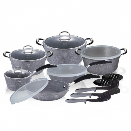 Set oale, tigai marmorate (18 piese) din aluminiu forjat Gray Stone Touch Line Berlinger Haus BH 6196 [0]