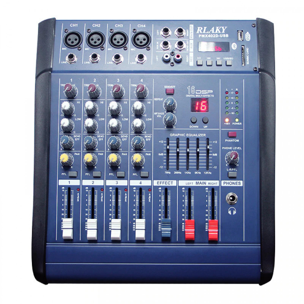 Mixer profesional cu amplificare 200W si 4 canale PMX402D-USB [4]
