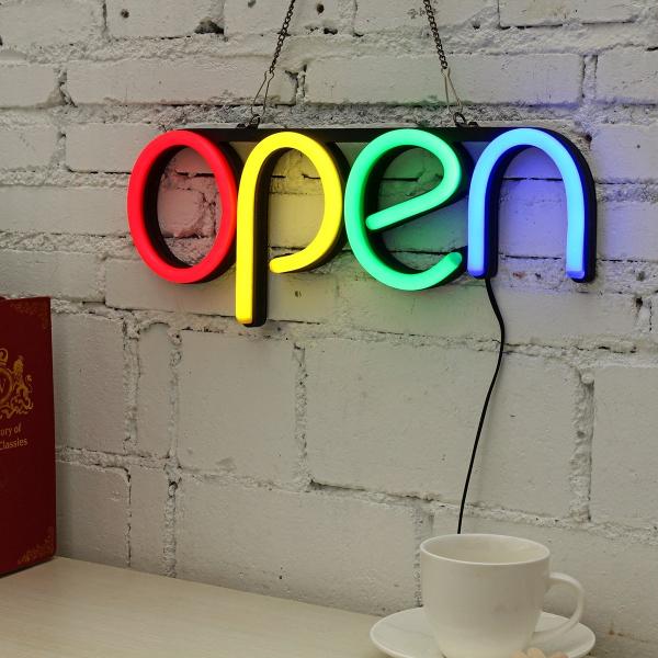 Reclama luminoasa Led interior mesaj Open 5