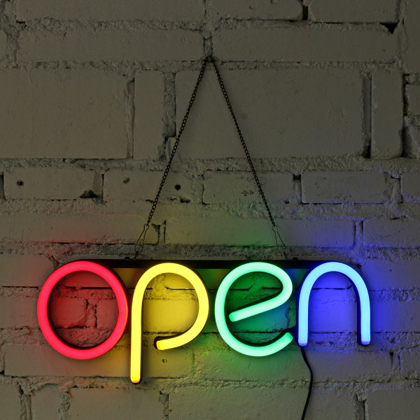 Reclama luminoasa Led interior mesaj Open 1