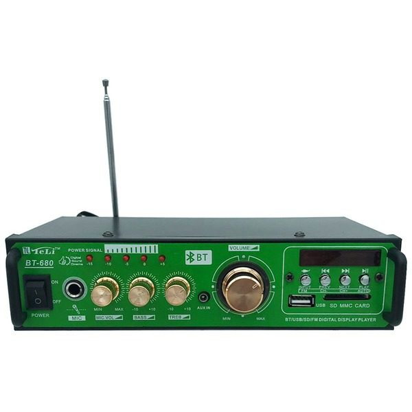 Amplificator audio stereo Teli BT-680 cu 2 canale si cititor de card USB ,SD Card 0