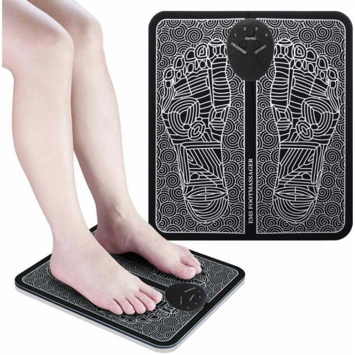 Aparat de masaj pentru picioare cu impulsuri electromagnetice, tehnologie EMS, reincarcabil USB [0]