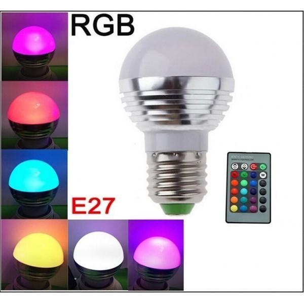 Bec LED RGB cu 16 culori si telecomanda 1