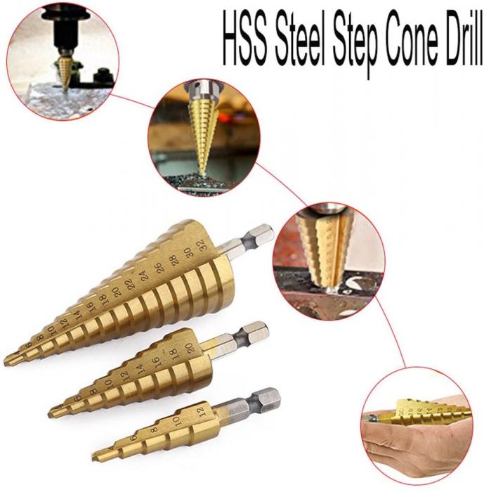 Burghiu conic metal in trepte, spiral conic 4-12 mm [3]