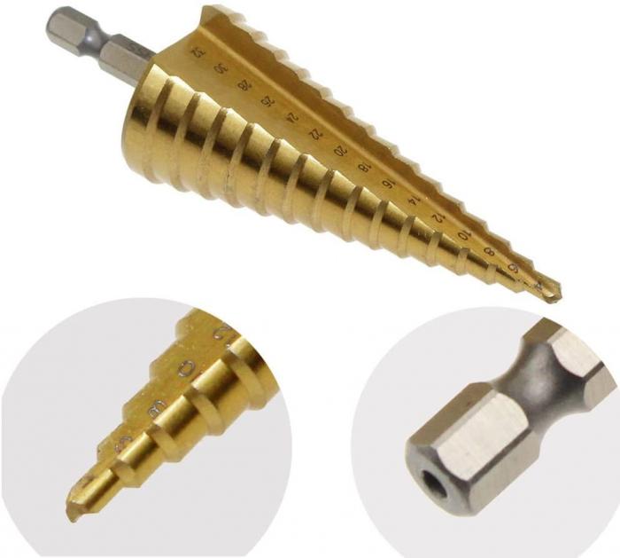 Burghiu conic metal in trepte, spiral conic 4-12 mm [4]