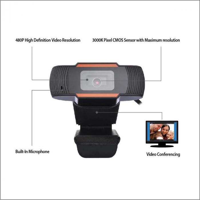 Camera web Full HD 1080P cu microfon incorporat, USB 2.0 2