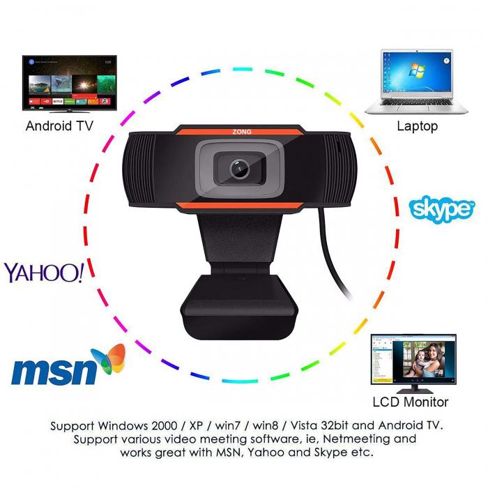Camera web Full HD 1080P cu microfon incorporat, USB 2.0 5
