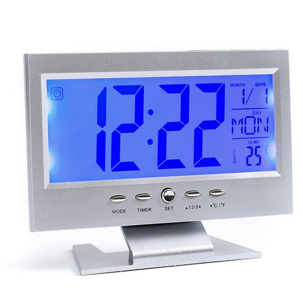 Ceas electronic digital cu ecran LCD si control vocal senzor acustic DS-8082 [1]