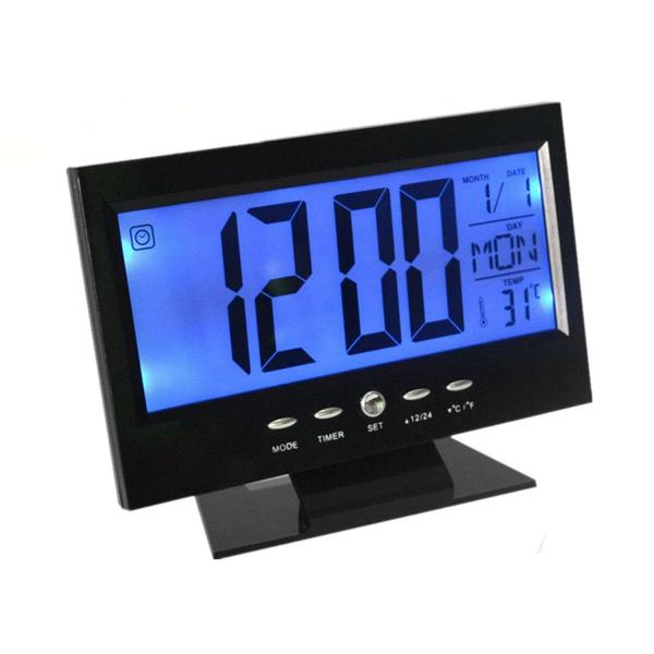 Ceas electronic digital cu ecran LCD si control vocal senzor acustic DS-8082 [0]