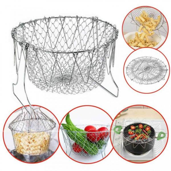 Cos Chef Basket 12 in 1 universal pentru gatit scurs din inox 0