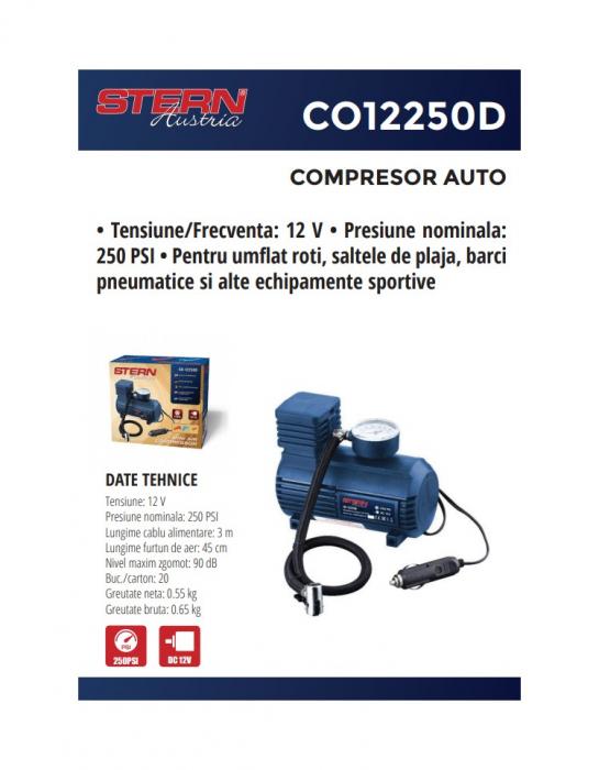 Compresor auto CO-12250D Stern Austria cu alimentare 12V 2