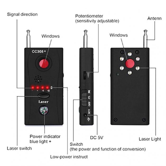 Detector optic-radio pentru camere si microfoane ascunse cu filtru IR, CC308+ [3]