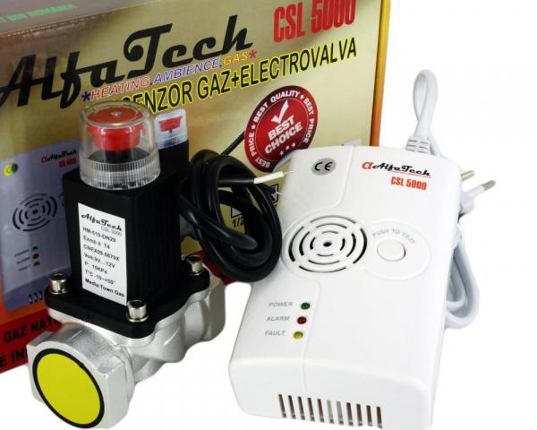 "Detector de gaze cu electrovalva AlfaTech CSL5000 3/4"" 1"