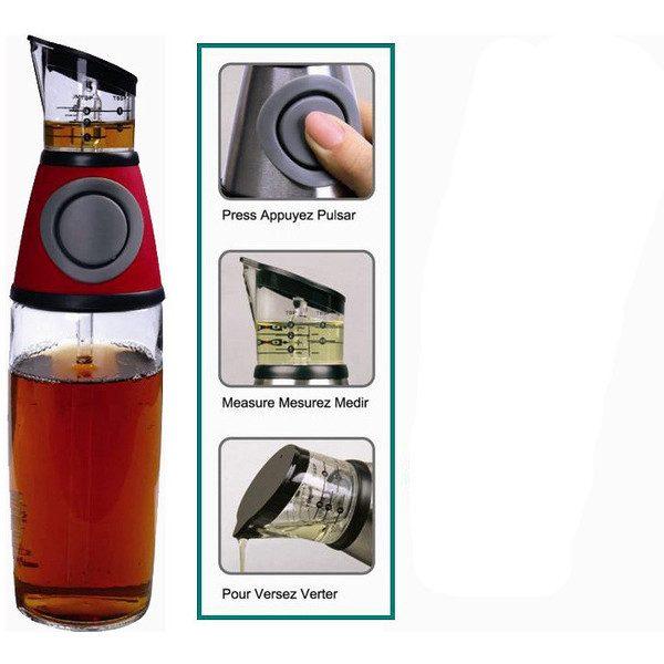 Dispenser din sticla cu gradatii pentru ulei si otet Press and Measure 0