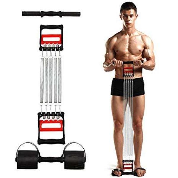Extensor fitness multifunctional cu arcuri metalice pentru brate, piept si picioare 2