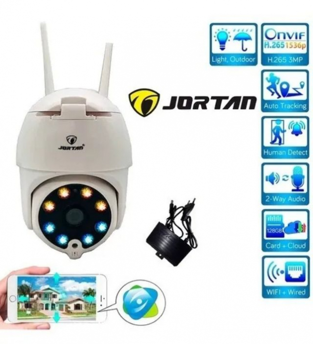 Camera de supraveghere video WIFI cu IP si 360 grade Jortan IPC 1