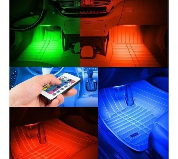 Kit lumini ambientale interior auto RGB LED cu telecomanda 1