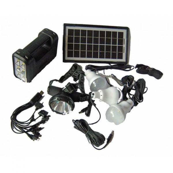 Kit iluminare cu panou solar si USB lanterna frontala si lampi GDLite GD-8007 0