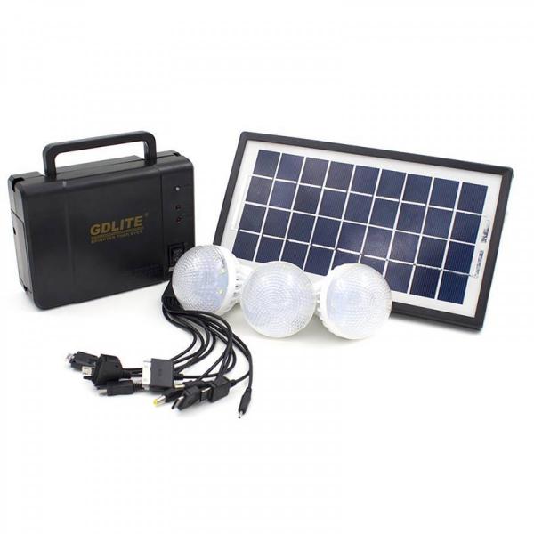Kit sistem iluminare cu incarcare solara GDLITE GD-8006A, si 3 becuri LED [1]