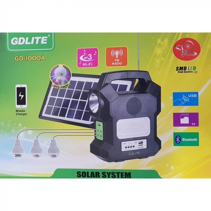 Kit solar portabil Gdlite GD-1000A, cu USB, Bluetooth, Radio FM, MP3 Player si 4 becuri incluse [2]