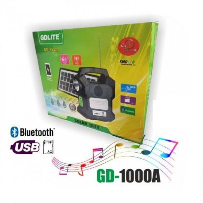 Kit solar portabil Gdlite GD-1000A, cu USB, Bluetooth, Radio FM, MP3 Player si 4 becuri incluse [3]