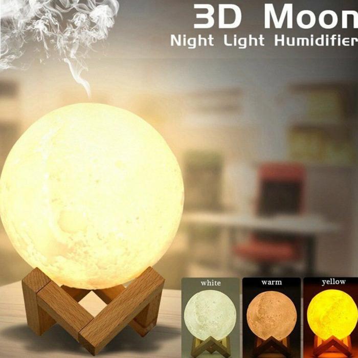 Umidificator lampa veghe, Luna Moon 3D cu suport de lemn [4]