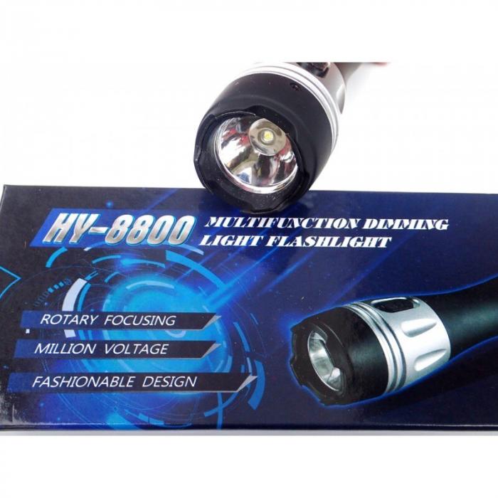 Lanterna cu electrosoc pentru autoaparare cu maner cauciucat,HY-8800 [2]