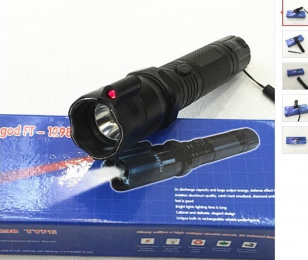 Lanterna cu electrosocuri pentru autoaparare cu laser HY-1298 0