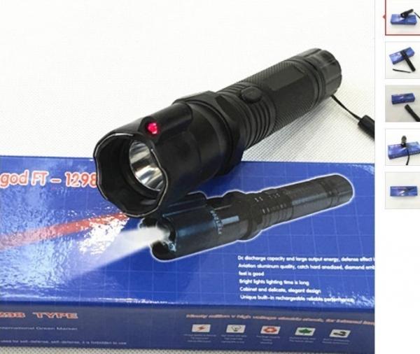 Lanterna cu electrosocuri pentru autoaparare cu laser HY-1298 1