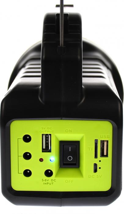 Lanterna cu boxa wireless cl-707 reincarcabila, cu Radio, USB, slot TF card, Bec disco si Bec camping incluse [3]