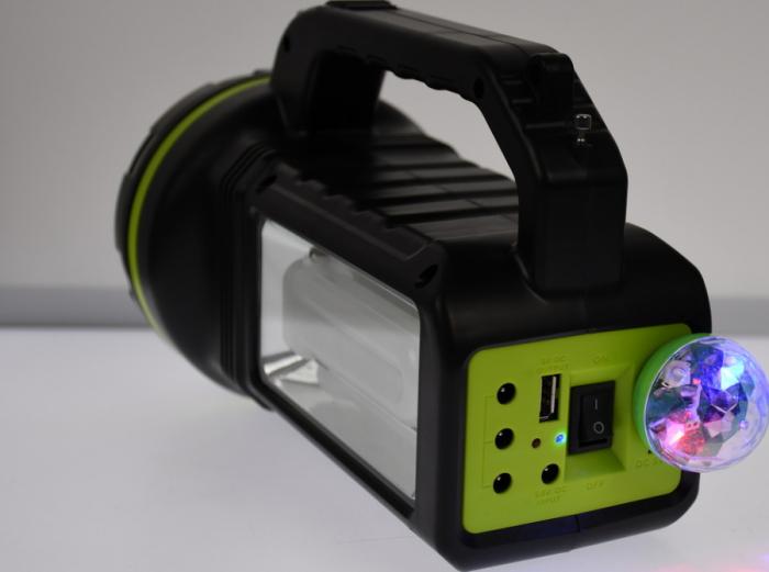 Lanterna cu boxa wireless cl-707 reincarcabila, cu Radio, USB, slot TF card, Bec disco si Bec camping incluse [5]