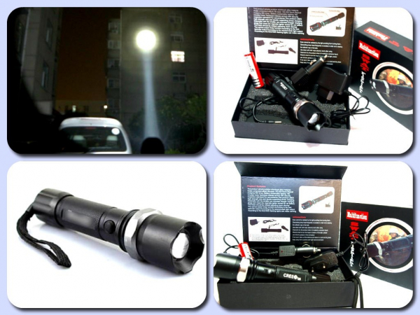 Lanterna Police Q5 LED Cree zoom cu lupa si acumulator 0