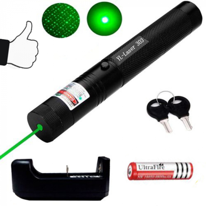 Laser pointer verde putere 1000 mW cu acumulator si incarcator, YL-Laser 303 [3]